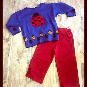 2T Girls Royal blue ladybug sweater red sweats